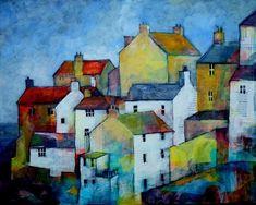 Building Painting, House Painting, Painting & Drawing, Landscape Art, Landscape Paintings, Cityscape Art, Art Textile, Art Impressions, Beautiful Paintings