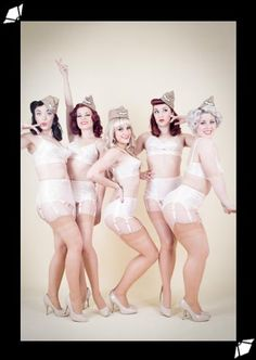 These girls are pretty normal... not anorexic, lol. What Katie Did's vintage Harlow Bullet Bra and Garter Belt is worn by burlesque troupe the Follie Mixtures in a new photoset by Tigz Rice.
