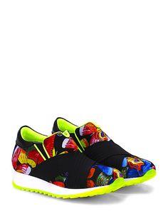 Andia Fora - Sneakers - Donna - Sneaker in pelle e tessuto stampato con multi fasce elasticizzate frontali e suola in gomma. Tacco 35, platform 20 con battuta 15. - NERO\MULTICOLOR