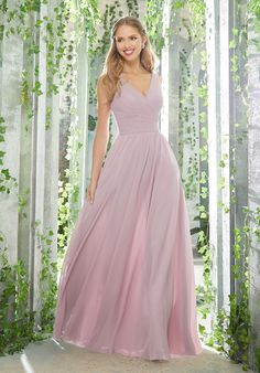 Morilee Bridesmaids 21621 Figure Flattering Chiffon Bridesmaid Dress Featuring an Assymetrcially Draped, V-Neck Bodice and Flowy, A-Line Skirt. View Chiffon Swatch C Mori Lee Bridesmaid Dresses, Lace Bridesmaid Dresses, Wedding Dresses, Mauve, Staubige Rose, Palm Springs, Dresser, Chiffon Gown, Chiffon Fabric