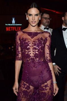 Alessandra Ambrosio in Zuhair Murad at the Weinstein Company afterparty. [Photo by Jeff Vespa/Getty Images for TWC]