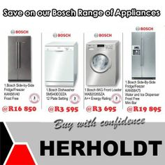 Visit our stores in Middelburg and Graaf-Reinette and get your Bosch appliances at up to off. Herholdt Group bringing you better prices all the time and we undertake to beat any written offer on all our items in the store. Bosch Appliances, Plate Sets, Facebook Sign Up, How To Apply, Human Rights, Photographs, Group