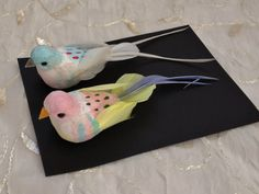 Two Decorative Artificial Birds Craft by BlissfulSilks on Etsy