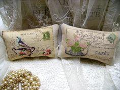 2 Shabby Vintage Chic Canvas Petite Postcard Pillows