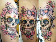 Skip the bow Skull Tattoo Flowers, Skull Rose Tattoos, Skull Girl Tattoo, Bull Tattoos, Leg Tattoos, Body Art Tattoos, Sleeve Tattoos, Caveira Mexicana Tattoo, Mexican Skull Tattoos