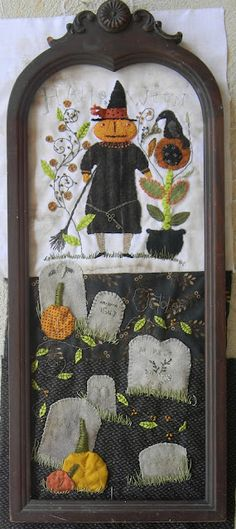 Halloween Mixed Media Art: punch needle, embroidery, wool applique & found objects by Notforgotten Farm Halloween Quilts, Halloween Sewing, Halloween Cross Stitches, Halloween Boo, Holidays Halloween, Vintage Halloween, Halloween Crafts, Halloween Decorations, Halloween Fabric