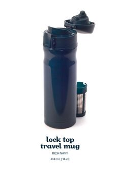 Lock Top Travel Mug - Sip yourself festive with this handsome navy leakproof travel mug, with a handy lock-shut feature.