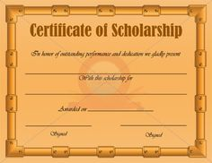 memorial scholarship certificate template scholarship
