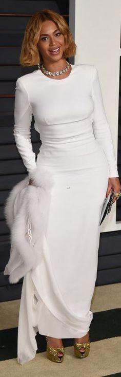 Beyonce Knowles at Vanity Fair Oscar's Party 2015 Dress – Stella McCartney  Shoes – Giusuppe Zanotti  Jewelry – Lorraine Schwartz  Scarf – J.Mendel
