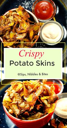 Baked Crispy Potato Skins are a quick, easy, and really delicious snack made from the leftover potato peels that are […] Crispy Potato Skins, Crispy Baked Potatoes, Potatoe Skins Recipe, Potatoes In Oven, Baked Potato Oven, Potato Skins Appetizer, Potato Crisps, Leftover Potatoes, Peeling Potatoes