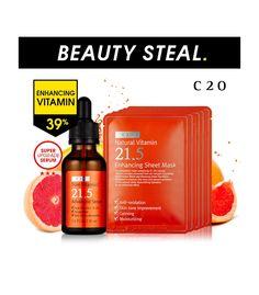 [C20] Pure Vitamin C21.5 Advanced Serum+Natural vitamin 21.5 Enhancing Sheet Mask (5Sheets)