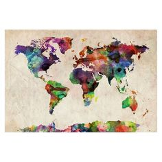 Urban Watercolor World Map Unframed Wall Canvas