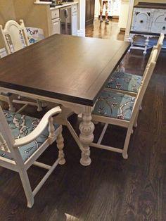 Redone by rescuedfurnishings.com Vintage Blossom Fabric @DwellStudio Java Gel Stain and Linen Milk Paint @Heather Rheault Finishes Pinterest