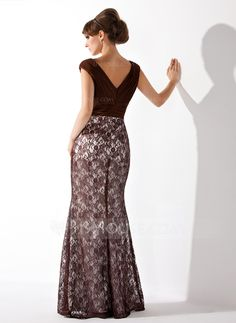 Trumpet/Mermaid V-neck Floor-Length Chiffon Lace Mother of the Bride Dress With Ruffle (008005684)