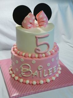 Minnie Mouse Cake - This is buttercream with fondant decorations.  The bow and ears are gumpaste.