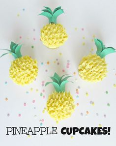 Perfect for a summer party with coconut buttercream frosting… Pineapple Cupcakes! Perfect for a summer party with coconut buttercream frosting -Val Event Gal Summer Cupcakes, Cute Cupcakes, Fruit Cupcakes, Coconut Cupcakes, Cute Cupcake Ideas, Party Cupcakes, Coconut Buttercream, Buttercream Frosting, Butter Frosting