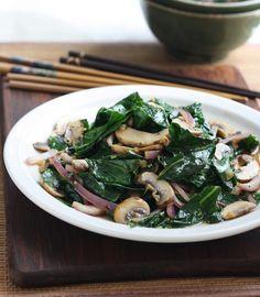Stir Fried Collard Greens with Mushrooms recipe by SeasonWithSpice.com
