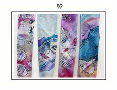 Apaszki WIOLLETE wykonane z jedwabiu ręcznie malowane z autorskimi ilustracjami artystki Wioli Bąbol