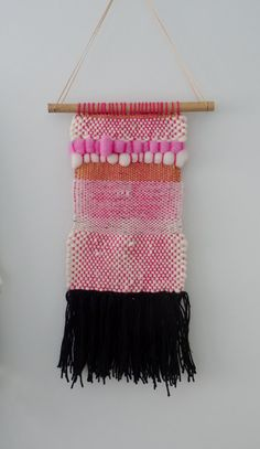 Pink And White Hand Woven Hanging Tapestry