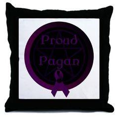 Proud Pagan with pentacle Throw Pillow