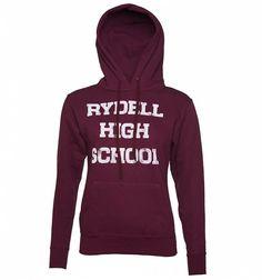 eafbcf12df73af Women's Rydell High Grease Cheerleading Hoodie Burgundy Top, Movie T  Shirts, Purple Hoodies,