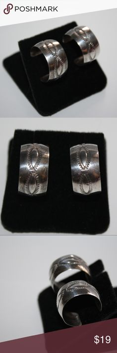 Sterling Silver hoop earrings approx 3/4 wide. Unstamped, but tested as sterling.  I got these down in New Mexico When i lived down south. Beautiful work. *These will not come with original backs, included a nice gold tone pair that fit perfect* Buy from me with confidence! I have sold over 400 items with a 5 star rating! If you have any questions, do not hesitate to ask.  Looking at a few things in my shop? Put a bundle together, comment on an item that you are ready to check out and let me…