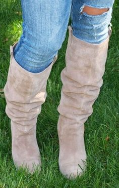Love these women's beige suede mid-calf boots for fall, winter, and spring 2013 - 2014. So cute with these blue jeans, pants, skirt or dress ♥ Get this look at @SPARKTREND for $33, click the image to see! #boots #shoes #fashion