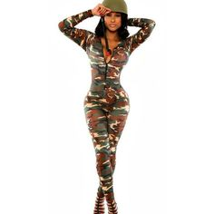 Army Green Camouflage Long Sleeve Jumpsuit ($25) ❤ liked on Polyvore featuring jumpsuits, white bodycon jumpsuit, long sleeve bodycon jumpsuit, jump suit, camo jumpsuit and zipper jumpsuit