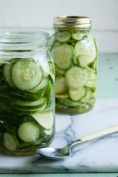 simple recipe (garlic, salt, vinegar)- fridge pickles