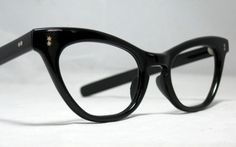Vintage 60s Classic Black Cat Eye Glasses by CollectableSpectacle