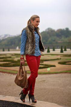 jeans blouse - Mango / leather pants - New Yorker / fake fur vest - C&A / shoes - from Rhodes / bag - Furla / earrings - Forever 21 / bracelets - Forever2, Cadenzza