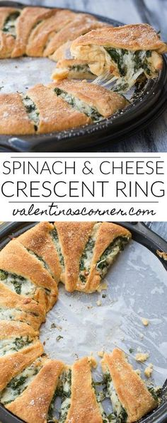 Spinach and Cheese Crescent Ring Recipe - Spinat rezepte Crescent Roll Ring Recipes, Pilsbury Crescent Recipes, Crescent Roll Appetizers, Pillsbury Recipes, Crescent Rolls, Taco Crescent Ring, Pizza Ring Cresent Roll, Chicken Crescent Ring, Pillsbury Rolls