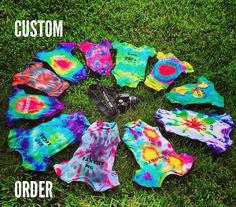Custom Tie dye Hippie Onesie, Bodysuit, Romper by DreamsicleDrops, $15.00  GMO Free, Uncut, BreastFed, Namaste, Eat Local, Eat Organic, Let It Be, Here Comes The Sun, Born With A Doula/ Midwife, Cosmic God/ Goddess, Savasana, Om Shanti or a saying of your choice!