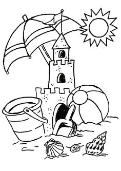 Summer Coloring Pages Kindergarten - Free Coloring Sheets Summer Coloring Sheets, Beach Coloring Pages, Coloring Pages To Print, Coloring Book Pages, Printable Coloring Pages, Coloring Pages For Kids, Kids Coloring, Summer Coloring Pictures, Summer Kids