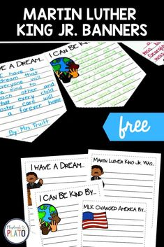 These Martin Luther King Jr. banners are the perfect extension activity when learning about and celebrating the life of Martine Luther King Jr. Kids will choose the topic they want to write about, creating student engagement. Publishing this writing is the absolute best by hanging up all the pieces of writing together and displaying them in the classroom or hallway. Kindergarten Writing Activities, Kindergarten Centers, Literacy Centers, Learning Activities, Martin King, Martin Luther King, Books To Read, Reading Books, New Year's Crafts