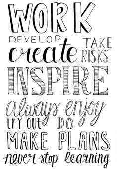Work & inspiration. // Handlettering via www.Luloveshandmade.com