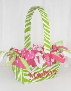 monogrammed Easter Basket - good idea to get all the little ones for Easter this year