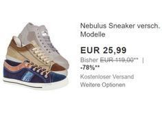 Nebulus: Sneaker via Ebay für 25,99 Euro frei Haus https://www.discountfan.de/artikel/klamotten_&_schuhe/nebulus-sneaker-via-ebay-fuer-2599-euro-frei-haus.php Bei Ebay sind für einen Tag Nebulus-Sneaker zum Schnäppchenpreis von 25,99 Euro mit Versand zu haben. Die Treter gibt es in mehr als zwei Dutzend Modellen und den Größen 37 bis 47. Nebulus: Sneaker via Ebay für 25,99 Euro frei Haus (Bild: Ebay.de) Die Nebulus-Senaker für 25,99 Euro frei Haus sind... #Schuhe, #