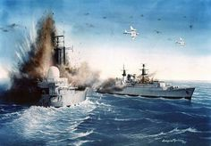 British ships under attack by Argentine A-4s