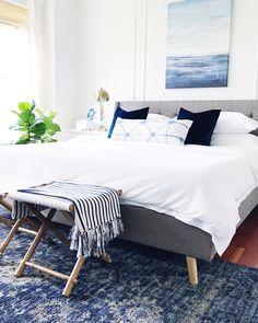 Blue and white calming Bedroom decor with a coastal vibe for a happy home #homedecor #bluedecor #bedroomdecor #coastaldecor