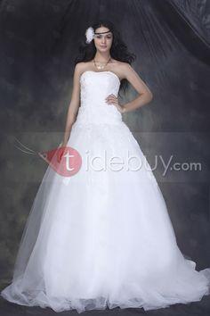 ファンタスティックボールガウンストラップレス床まで届く長さコートトレインアップリケ飾り付きウエディングドレス