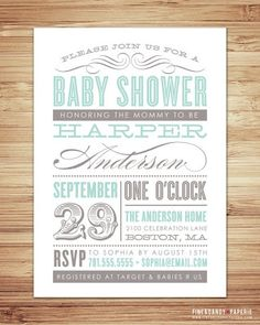 I Heart Pears: Baby Shower Invitations