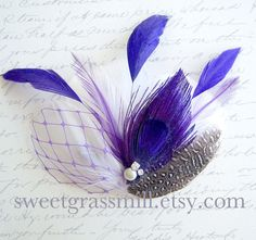 Purple Peacock Fascinator Clip  BELLA VIOLETTA  by sweetgrassmill, $22.00