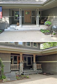 Porch remodel included new stone and wood columns, tile steps and decking, cedar ceiling, porch rail, cedar trim and new entry door.