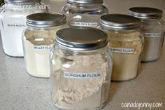 All About Gluten Free Flours --> HEAVY FLOURS: Almond, Coconut, Chickpea (Gram/Garbanzo ), Quinoa, Teff, Buckwheat. MEDIUM FLOURS: Amaranth, Millet, Sorghum, Brown Rice. LIGHT FLOURS: White Rice, Sweet Rice, Tapioca (starch), Potato Starch.