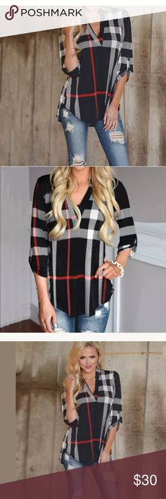 New plaid tunic top Cute top Material: 85%Polyester 15%Spandex size m 6-8 Tops Blouses
