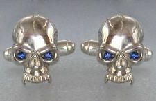 SKULL Cufflinks Sterling Silver 925 blue crystal eyes Hand Made Lot 835