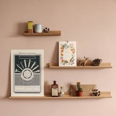 Oak Picture Ledge/Accessory Shelves are perfect for a variety of uses, propping up favourite cards and prints (even framed ones), chucking your keys on, storing herb jars, collections of miniatures etc etc. Buy online at www.willowandstone.co.uk - we ship worldwide! Made in England.