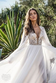 asaf dadush 2018 bridal long sleeves deep plunging sweetheart neckline heavily embellished bodice high slit skirt soft a line wedding dress covered lace back sweep train (4) zv
