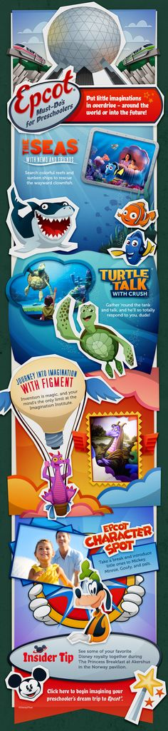 Epcot Must Do's for Preschoolers (or select another age group on the chart if you'd like)!  Finding Nemo, Turtle Talk with Crush, Journey into Imagination with Figment, Epcot Character Spot: Mickey, Minnie, Donald, Goofy, Pluto!